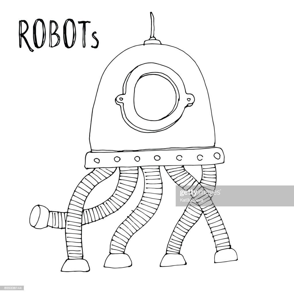 Cartoon Vector Doodle Robot Voor Kinderen Kleurplaat Boek