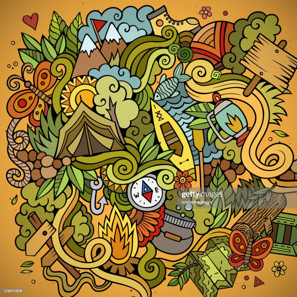 Cartoon vector doodles camping background