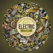 Cartoon vector doodles Electric cars illustration