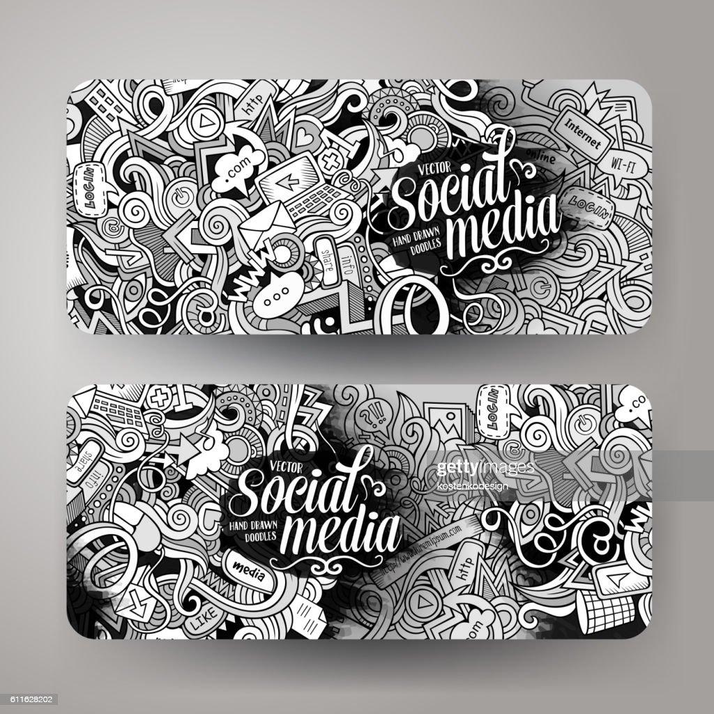 Cartoon vector doodles internet banners