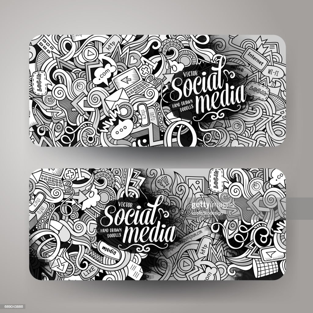 Cartoon vector doodles internet banners