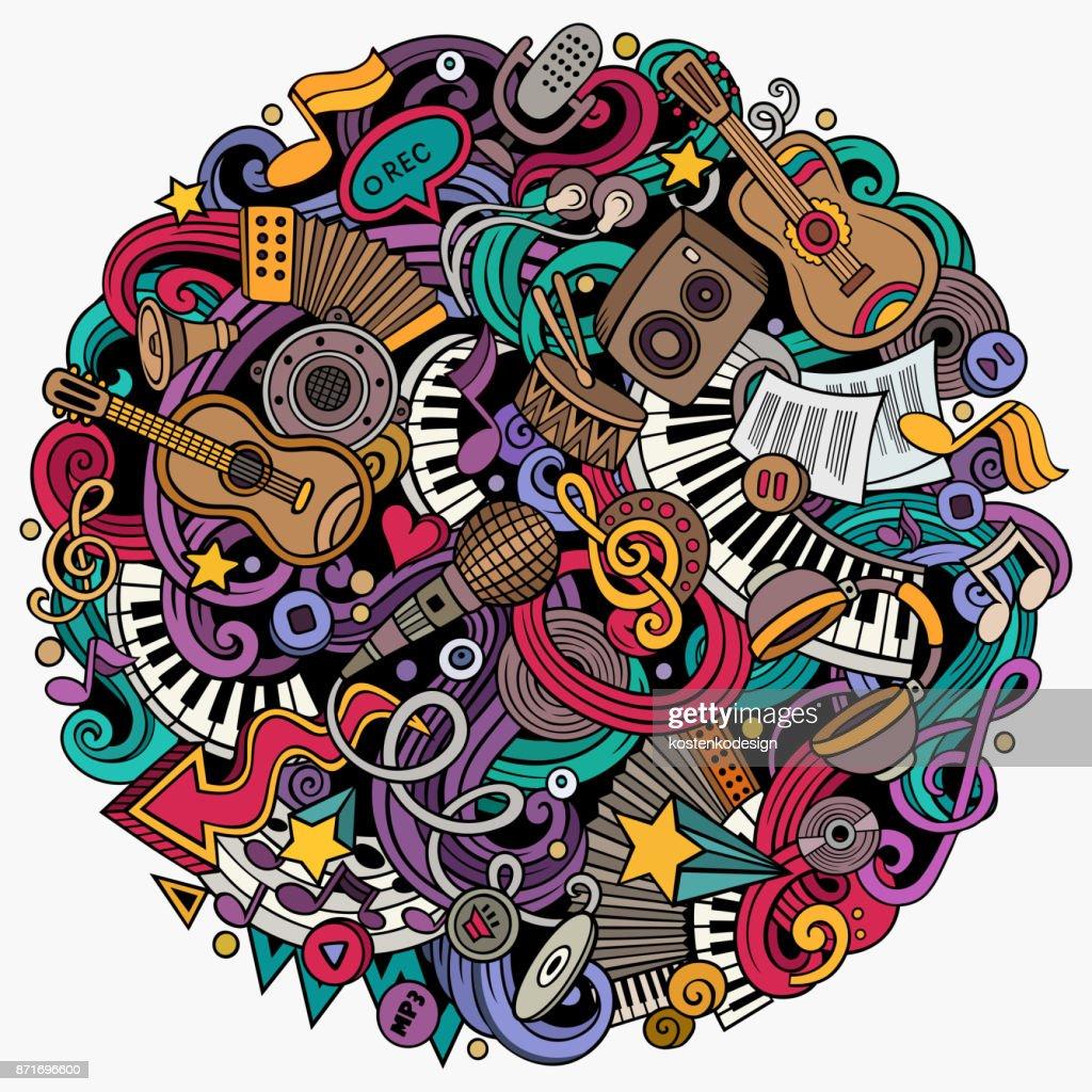 Cartoon vector doodles Music illustration