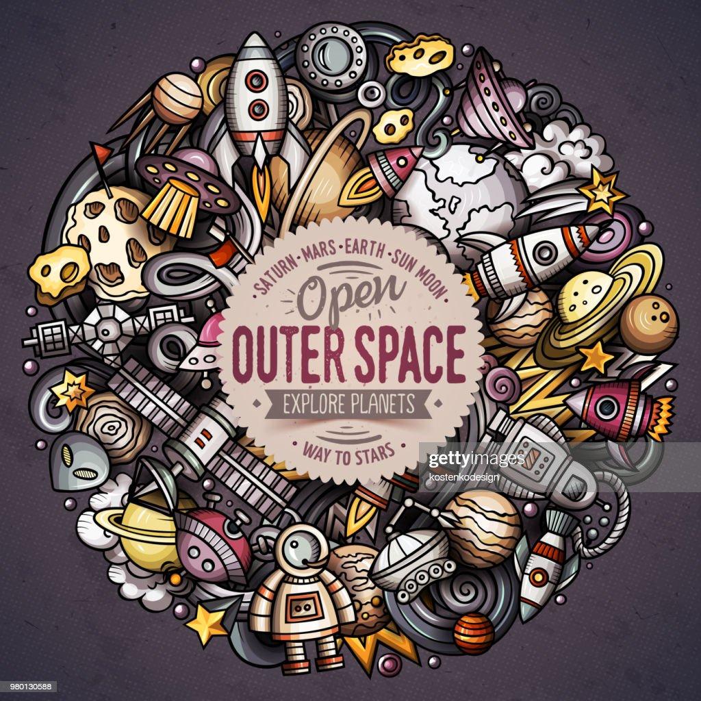 Cartoon vector doodles Space illustration