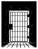 Cartoon Vector Drawing of Prison Door Casting Shadow