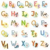 Cartoon vector hand drawn animals English language alphabet letters