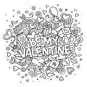 Cartoon vector hand drawn Doodle Be My Valentine