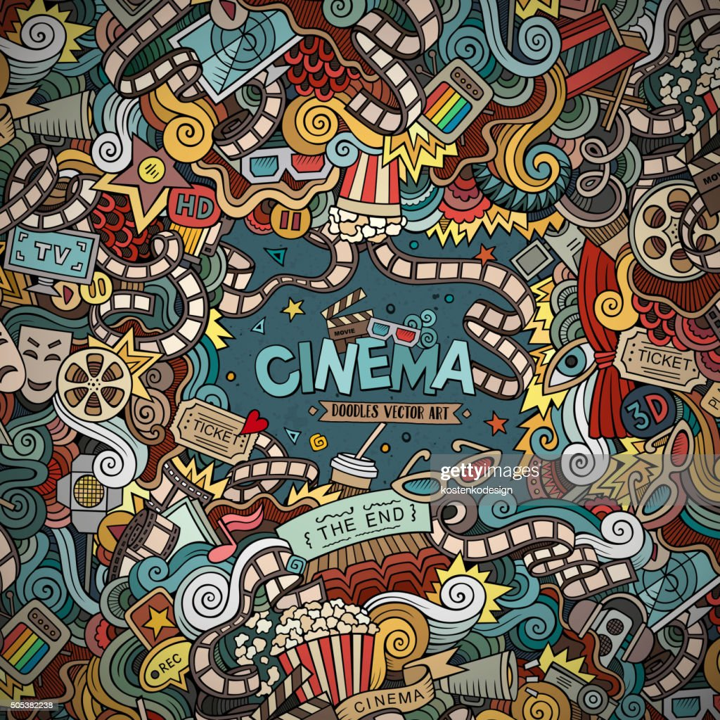 Cartoon vector hand-drawn Cinema Doodle frame
