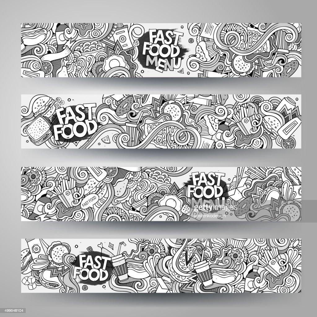 Cartoon Vector Handdrawn Sketchy Doodle Fast Food Banners Design