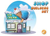 Cartoon vector ice cream shop for game and animation