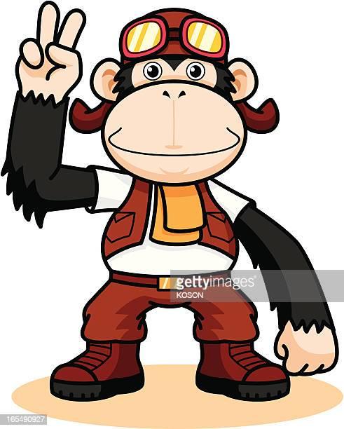 schimpansen-gattung comic - chimpanzee stock-grafiken, -clipart, -cartoons und -symbole