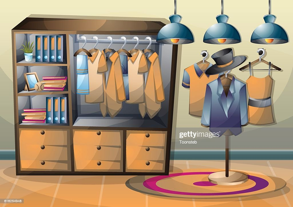 cartoon vector illustration interior clothing room with separated layers : Arte vectorial