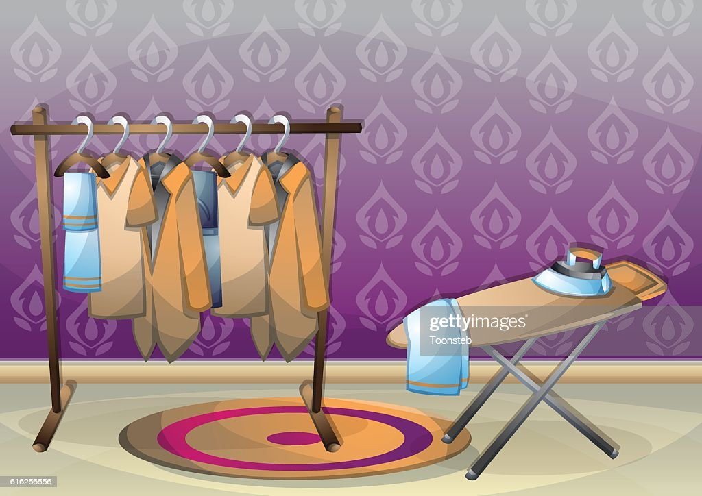 cartoon vector illustration interior clothing room with separated layers : Vector Art