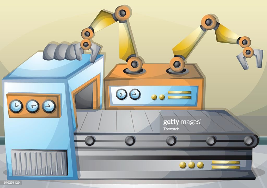 cartoon vector illustration interior factory room with separated layers : Vector Art
