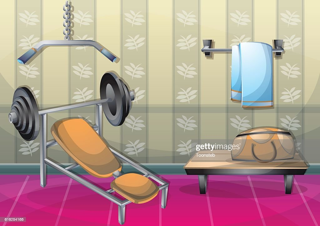 cartoon vector illustration interior fitness room with separated layers : Arte vectorial
