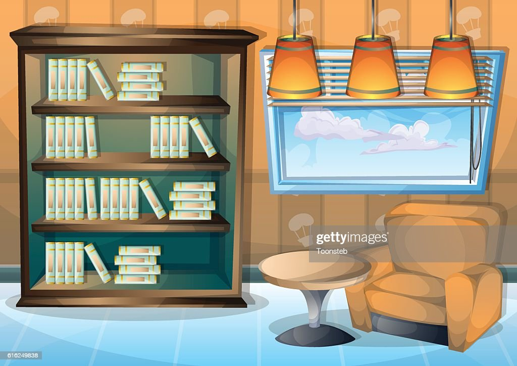 cartoon vector illustration interior library room with separated layers : Arte vectorial