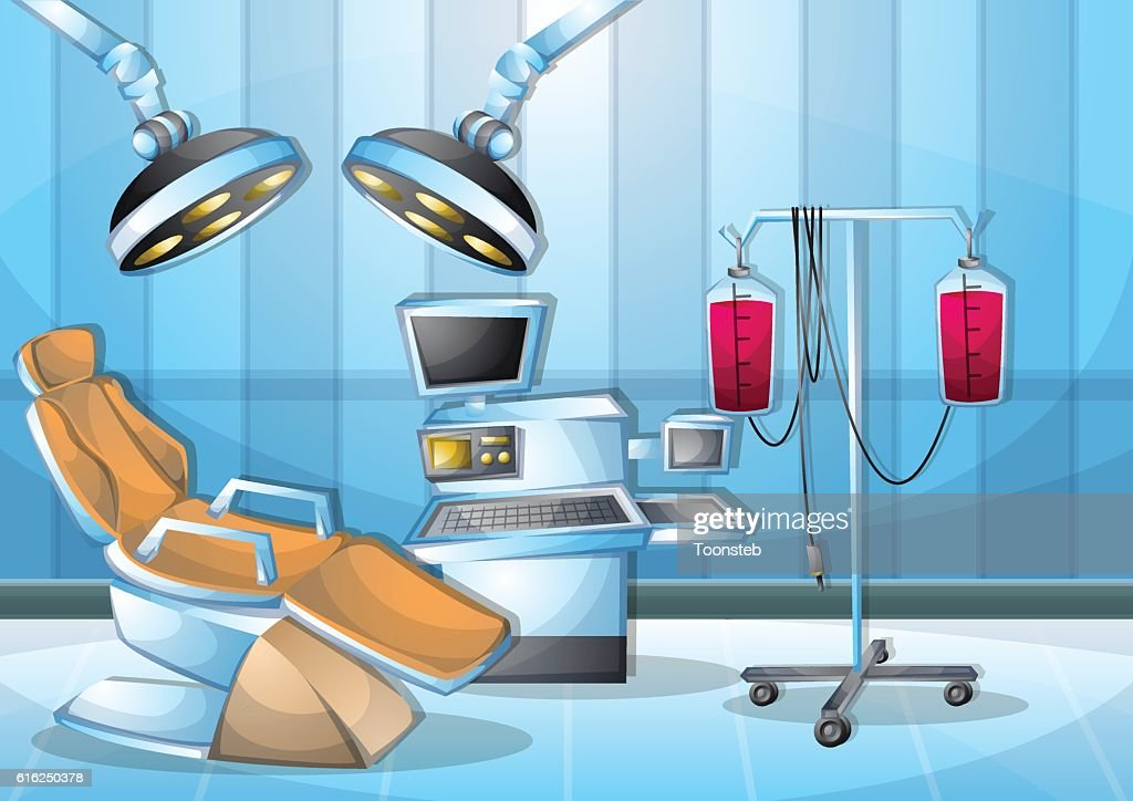 cartoon vector illustration interior surgery operation room with separated layers : Arte vectorial