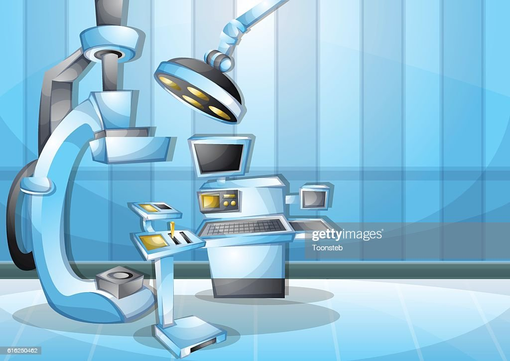 cartoon vector illustration interior surgery operation room with separated layers : Vector Art