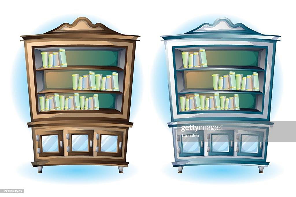 cartoon vector illustration interior wood cabinet
