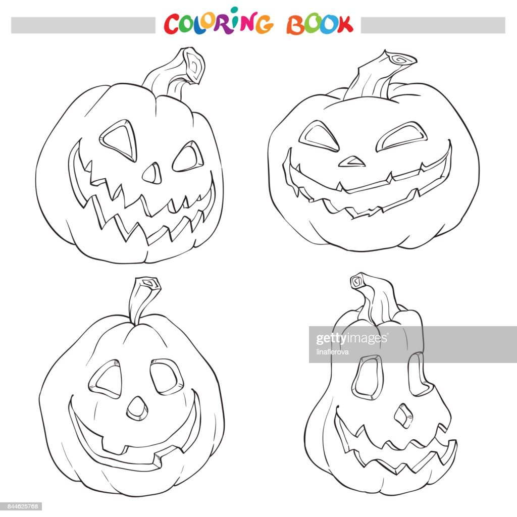 Halloween Kleuren.Cartoon Vector Illustratie Van Zwart En Wit Halloween