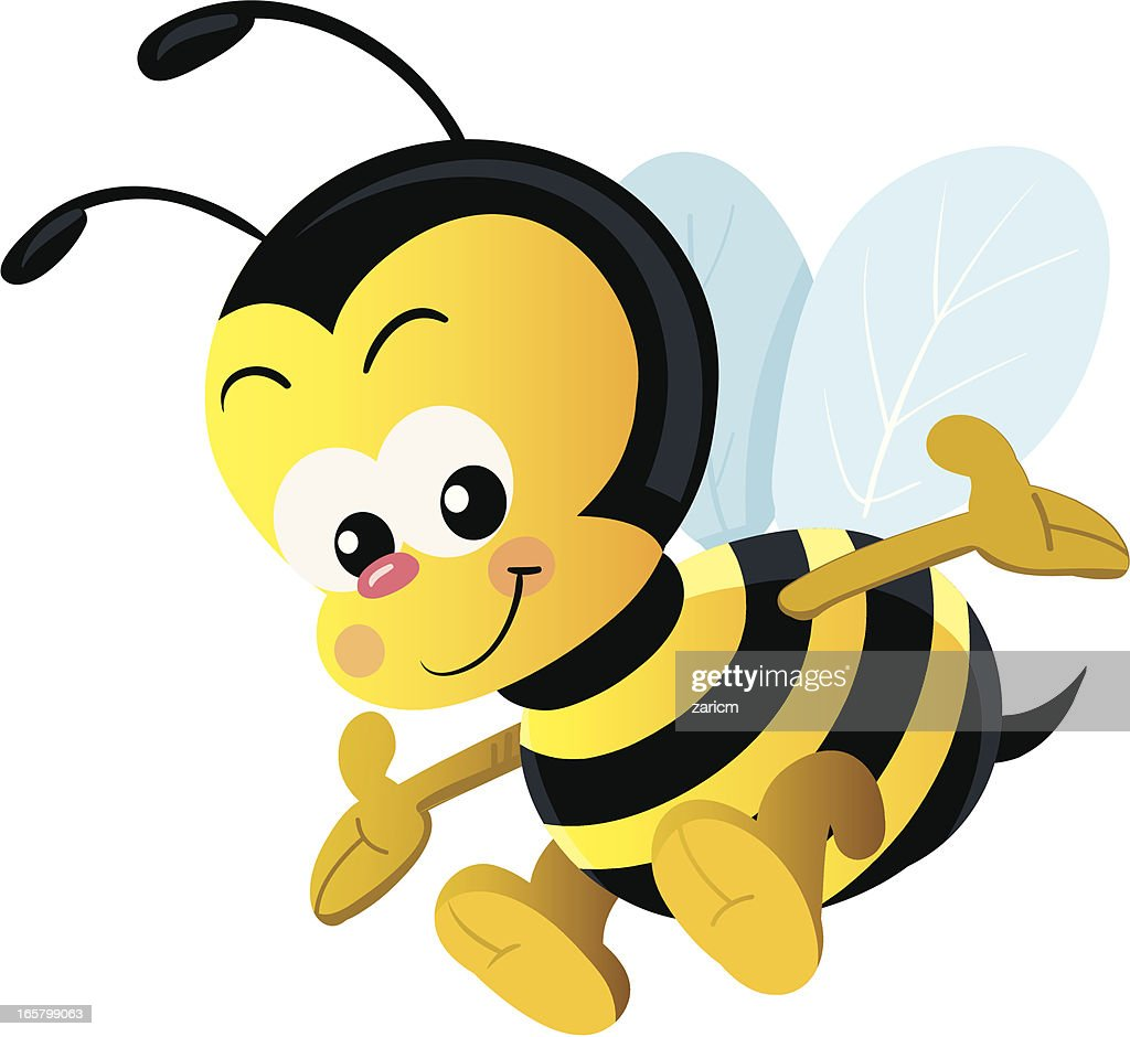 Cartoon vector illustration of happy bee