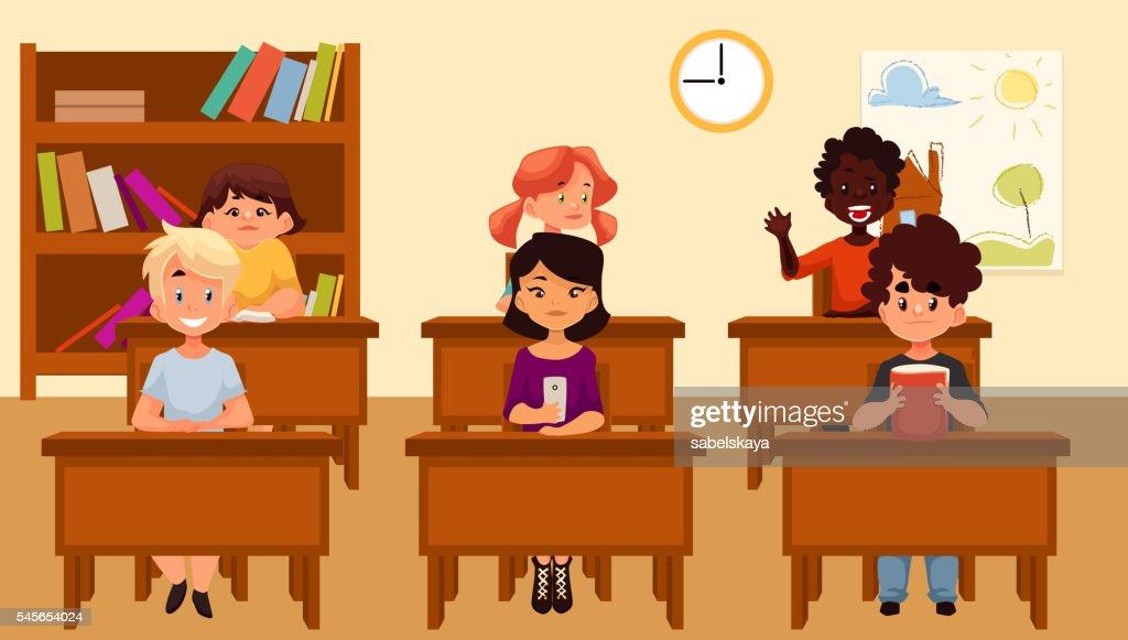 Cartoon vector illustration of school kids studying in classroom