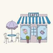 Cartoon vector illustration of street cafe