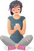 Cartoon vector isolated cute teen girl communicating with her smartphone