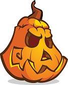 Cartoon vector Jack-O-Lantern pumpkin head. Halloween illustration
