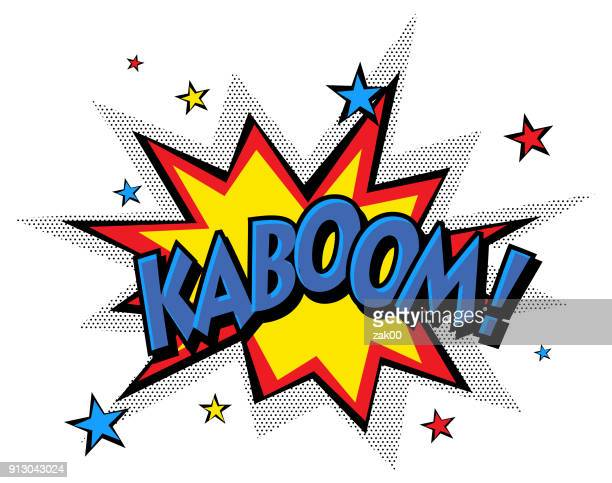 cartoon vector kaboom - superhero stock illustrations