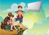 Cartoon vector landscape on the theme of adventures