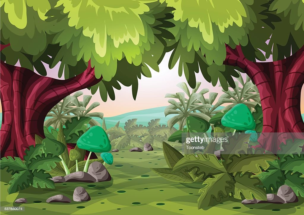 Cartoon vector landscape with separated layers
