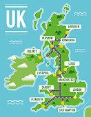 Cartoon vector map of United Kingdom. Travel illustration with british main cities.