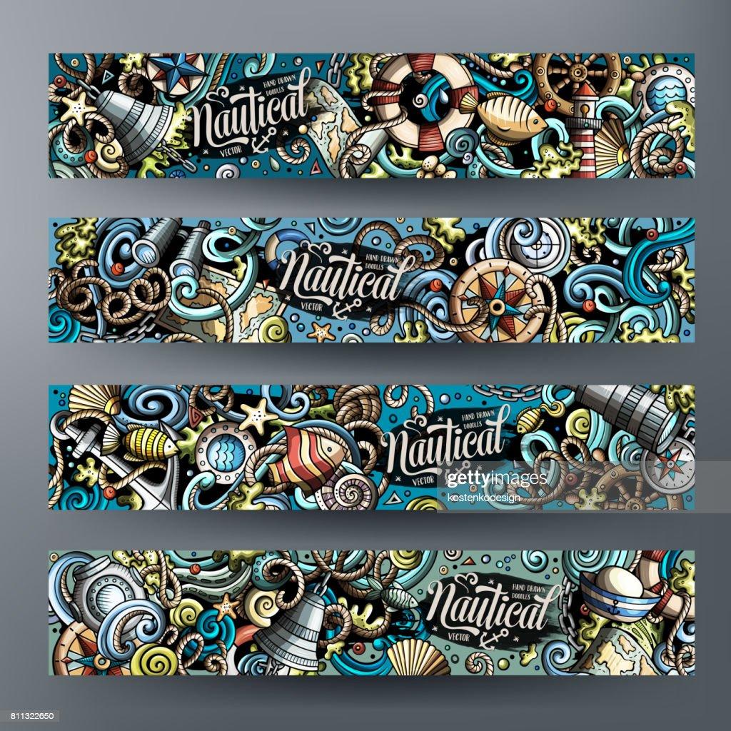 Cartoon vector nautical doodle banners