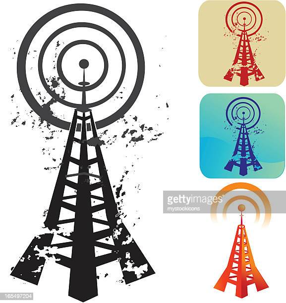 a cartoon vector of a wireless radio tower - podcasting stock illustrations, clip art, cartoons, & icons