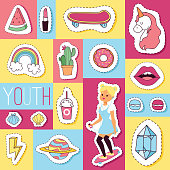 Cartoon vector seamless pattern girlish accessories lipstick icecream kids unicorn rainbow and doghnut sticker backdrop illustration girl character set of colorful girlie youth background