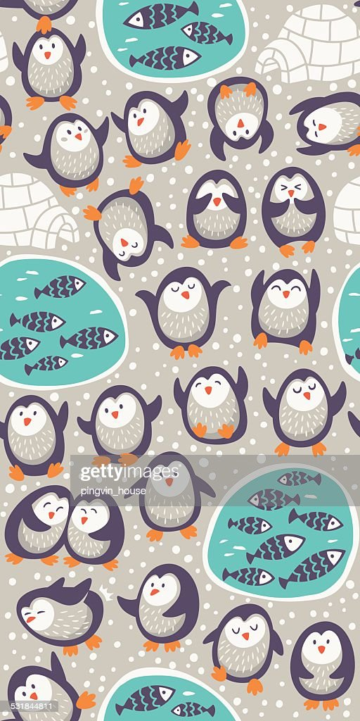 Cartoon vector seamless pattern with funny penguins. Cute background