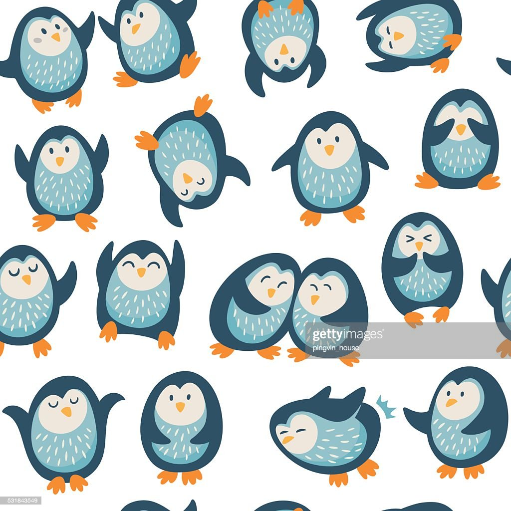 Cartoon vector seamless pattern with penguins