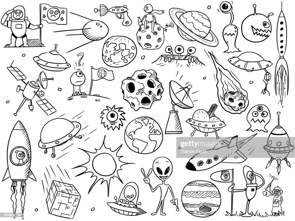Cartoon Vector Set of Alien Space Elements