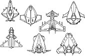 Cartoon Vector Set of Spaceship Spacecraft Designs