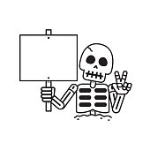Cartoon vector skeleton with sign