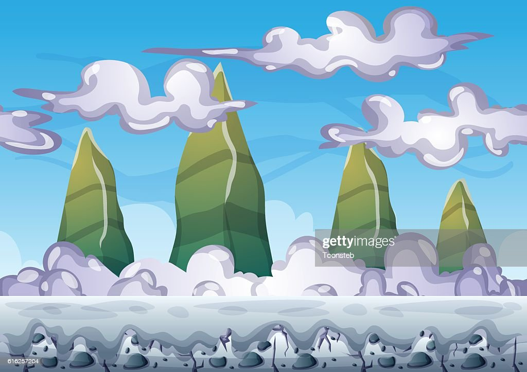 cartoon vector sky background with separated layers : Arte vectorial