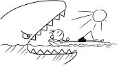 Cartoon Vector Stick Man Relaxing on Airbed, Air Mattress while Attacked by Giant Shark or Fish