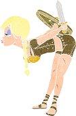 cartoon viking girl bowing