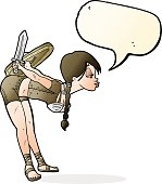 cartoon viking girl bowing with speech bubble