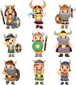 cartoon Vikings people icons