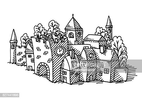 Cartoon Village Buildings Drawing Vector Art | Getty Images