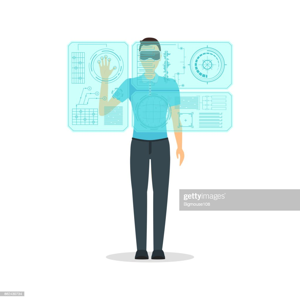 Cartoon Virtual Reality Man with Futuristic Technology Display Concept. Vector