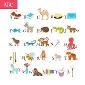 ABC. Cartoon vocabulary for education. Children alphabet