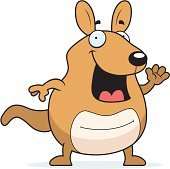 Cartoon Wallaby Waving