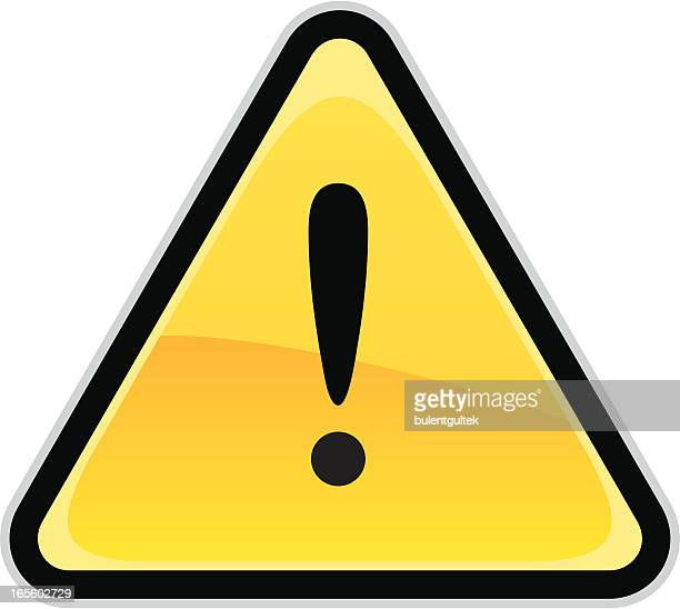 Cartoon warning sign on white background